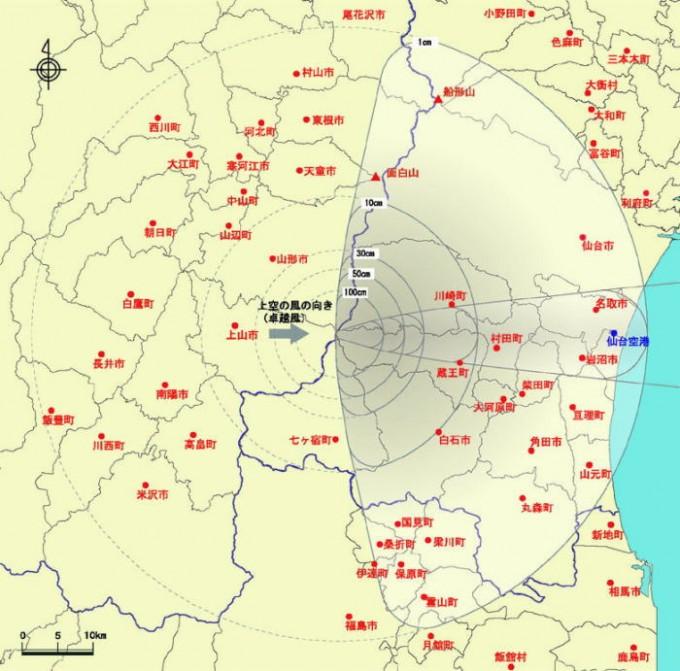 蔵王山降灰分布図